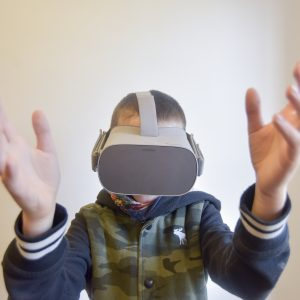 Childe with VR headset